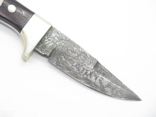 Vtg Custom Seki Japan 1/1 Burlwood Parker Damascus Fixed Blade Hunting Knife