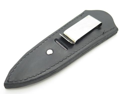 "Custom USA Black BL Leather Fixed 4"" Blade Dagger Knife Boot Belt Clip Sheath"