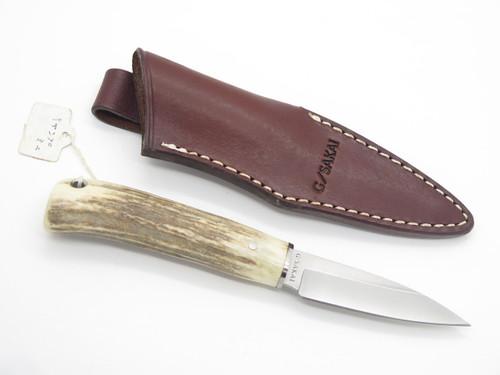 Vtg G. Sakai Seki Japan Small Sambar Stag Fixed Blade Hunting Knife & Sheath