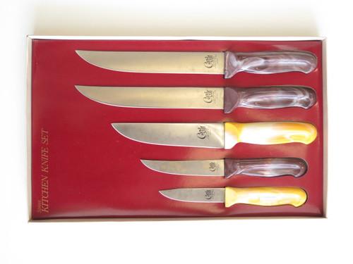VTG CANA CUT SEKI JAPAN SET OF 5 JAPANESE CHEF SLICER KITCHEN CUTLERY KNIFE