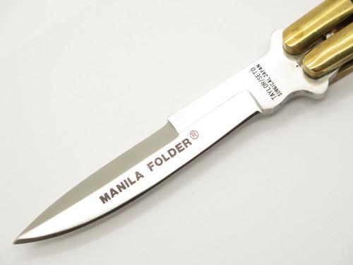 Vintage Taylor Seto G-972 Manila Folder Seki Japan Wood Brass Folding Balisong Butterfly Knife