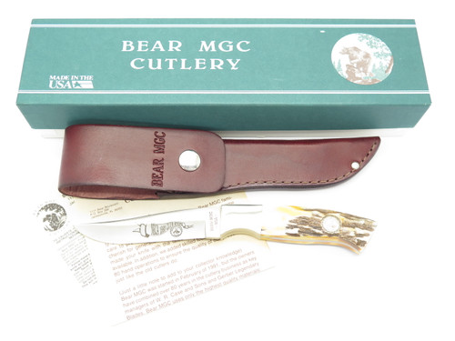 Vintage 1993 Bear Cutlery USA NKCA Club Stag Fixed Blade Hunting Knife