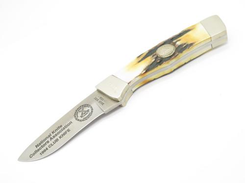 Vintage 1994 Bear Cutlery USA NKCA Club Stag Fixed Blade Hunting Skinner Knife