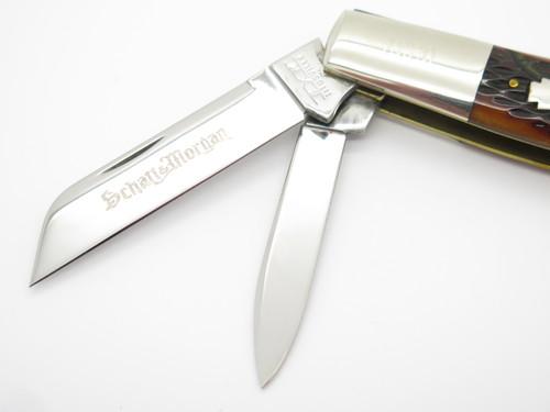 2005 SCHATT & MORGAN QUEEN NKCA RED BONE LARGE CONGRESS FOLDING POCKET KNIFE