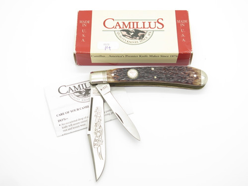1998 Camillus USA NKCA CCC-4 Jigged Bone Jumbo Folding Trapper Pocket Knife