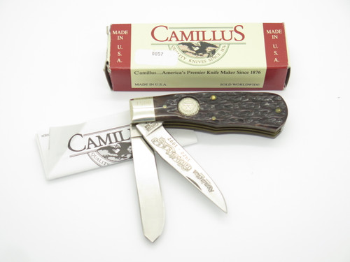 1997 Camillus USA NKCA Remington Jigged Bone Bullet Trapper Folding Pocket Knife