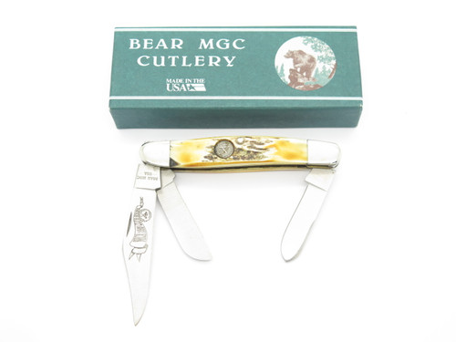 1993 Bear Cutlery MGC USA NKCA Club Stockman Stag Folding Pocket Knife