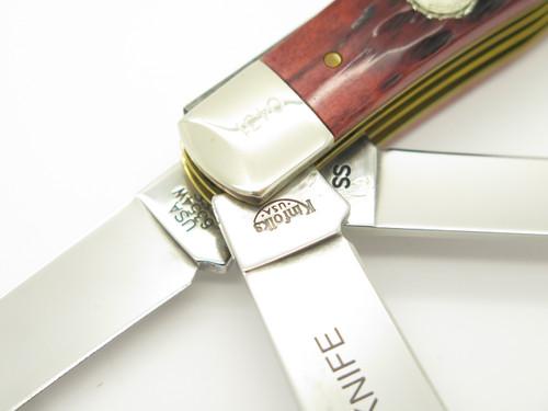 2006 NKCA CASE XX KINFOLKS USA RED BONE 3 BLADE FOLDING TRAPPER POCKET KNIFE