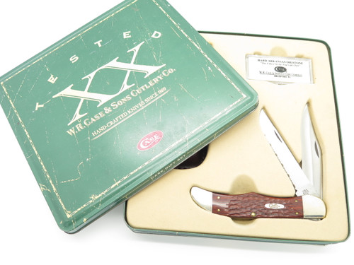 2000 Case XX 6265 Brown Jigged Wood Serrated Folding Hunter Knife In Gift Tin