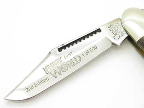 1987 KNIFE WORLD 2ND EDITION CRIPPLE CREEK USA BOB CARGILL FOLDING POCKET KNIFE