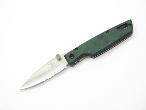 1998 BUCK USA 170 LIGHTNING GREEN FOLDING LINERLOCK POCKET KNIFE