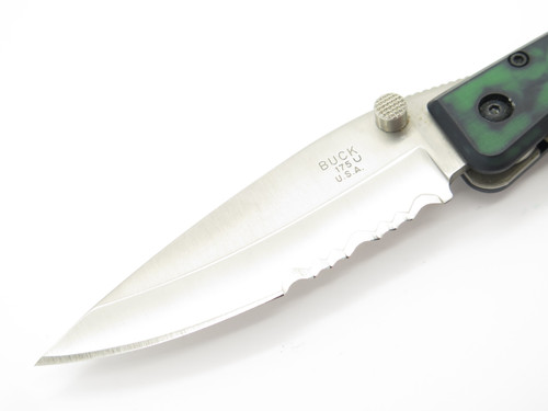 1998 BUCK USA 175 LIGHTNING LARGE GREEN FOLDING LINERLOCK POCKET KNIFE