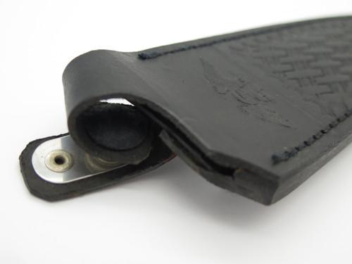 """Vtg Parker Japan Black Leather Fixed 5"""" Blade Dagger Knife Belt Clip Sheath"""