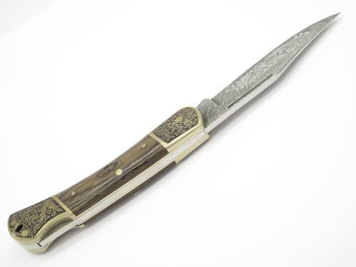 Vtg Herbertz German Rostfrei Etched Scroll Folding Hunter Lockback Pocket Knife