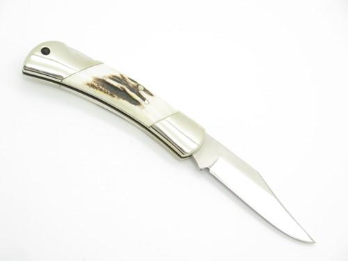 """Vtg 1980s Herbertz German Rostfrei Stag 3.5"""" Folding Lockback Pocket Knife"""