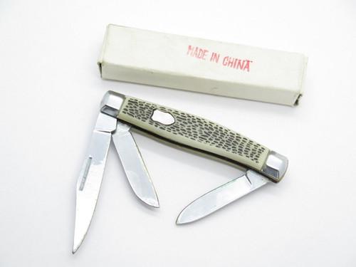 "NOS 1980s ""Made In China"" Snake Skin Stockman Folding Pocket Whittler Knife"