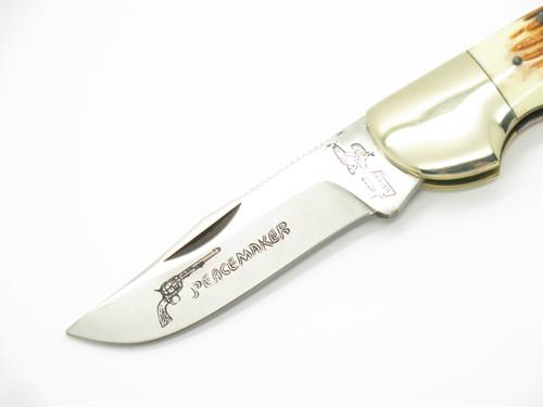 Vtg Frost Seizo Imai Seki Japan Peacemaker JG Bone Folding Lockback Pocket Knife