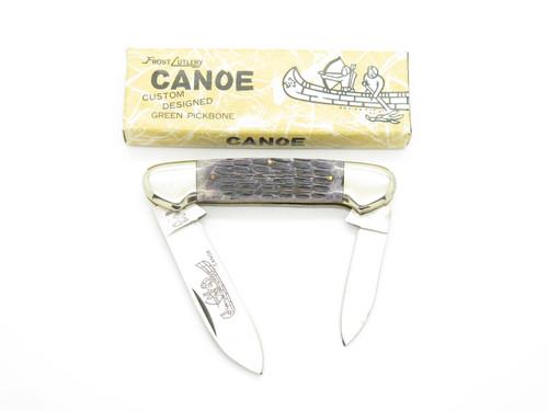 Vtg Frost Cutlery Imai Seki Japan Canoe Jigged Bone Folding Pocket Knife *crack