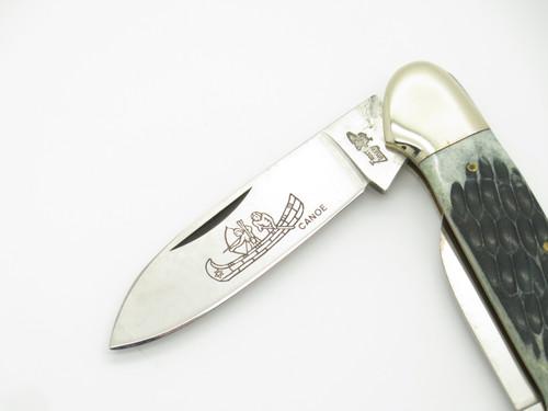 Vtg 1980s Frost Cutlery Imai Seki Japan Canoe Jigged Bone Folding Pocket Knife