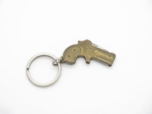 Vtg 1970s Seki Japan Miniature Derringer Pistol Keychain Mini Folding Knife