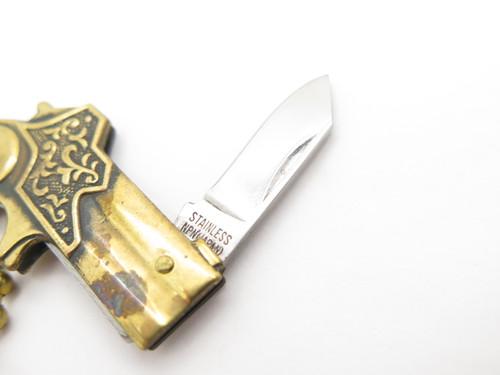 Vtg 1970s Seki Japan NPN Miniature Derringer Pistol Keychain Mini Folding Knife