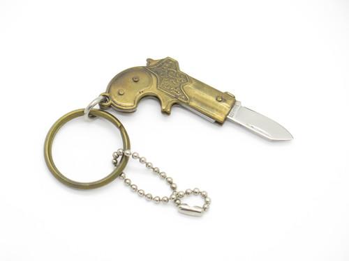 Vtg 1970s Seki Japan BRS Miniature Derringer Pistol Keychain Mini Folding Knife