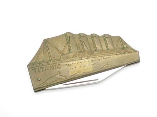 Vtg 1970s Novelty Seizo Imai Seki Japan Titanic Ship Brass Folding Pocket Knife