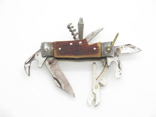 Vtg 1950s Seki Japan Bone Handle Mini Camping Multi Tool Hobo Camp Knife
