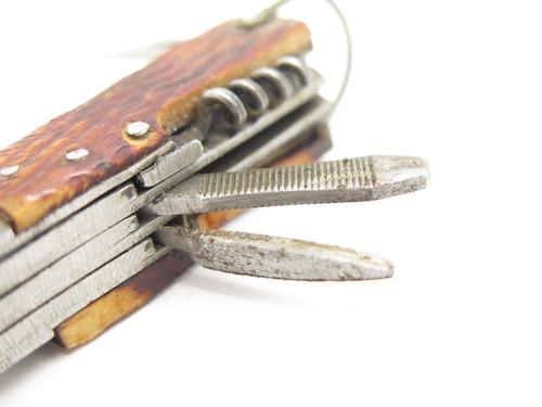 Vtg 1950s Seki Japan Bone Handle Mini Camping Multi Tool Small Hobo Camp Knife