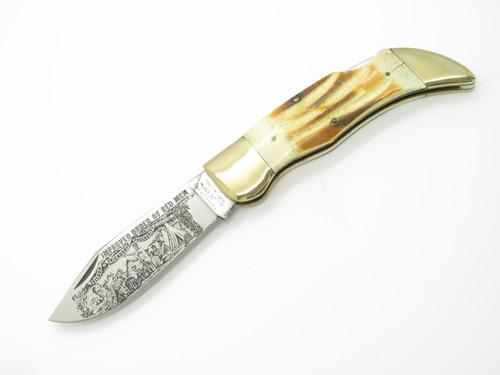 Vtg 1980s Parker Seizo Imai Seki Japan Stag Large Clasp Folding Hunter Knife