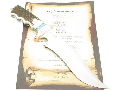 RRR Sub Hilt Elk Stag Fixed Bowie Knife R5 By 1st Buck Custom Maker Leroy Remer