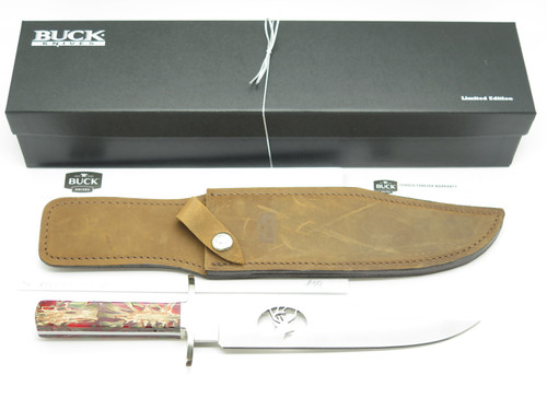 BUCK CUSTOM 916 BOWIE RED PINE CONE DEER CUTOUT FIXED BLADE HUNTING KNIFE