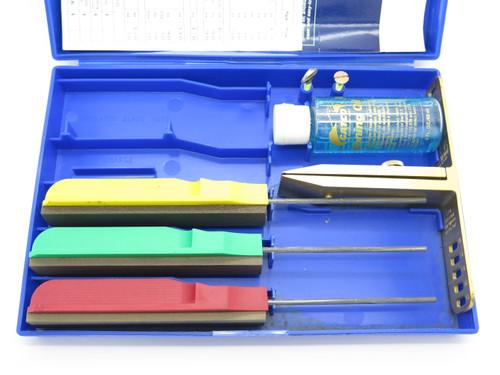 Vintage Gatco Edgemate Knife Sharpening System 3 Stone Clamp Oil Multi Tool Kit
