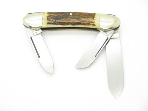 VTG 1977 NKCA KISSING CRANE ROBERT KLAAS STAG 3 BLADE FOLDING CANOE POCKET KNIFE