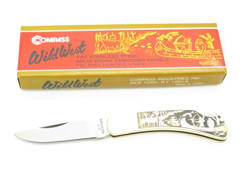Vtg Compass C.L. Seki Japan Imai S Wild West Brass Folding Lockback Pocket Knife