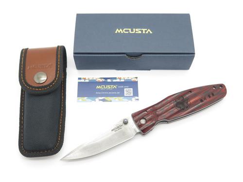 Mcusta Seki Japan MC-183D Ieyasu Red Wood & VG-10 Damascus Folding Hunter Knife