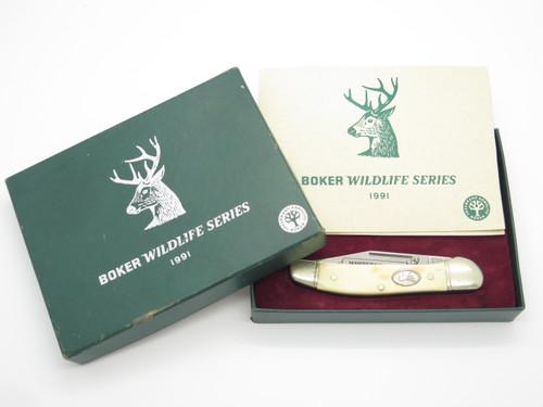 VTG 1991 BOKER SOLINGEN GERMANY WILDLIFE SERIES WHITETAIL FOLDING POCKET KNIFE