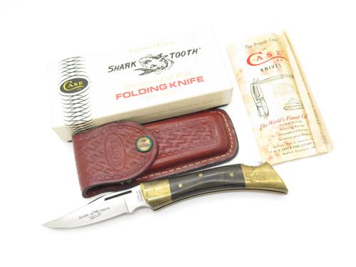 VTG 1988 CASE XX P197 SHARK TOOTH WOOD FOLDING HUNTER LOCKBACK KNIFE USED