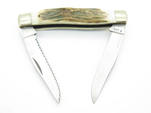 Vtg 1982-84 Parker Imai Eagle Seki Japan 295 Stag Trapper Folding Pocket Knife