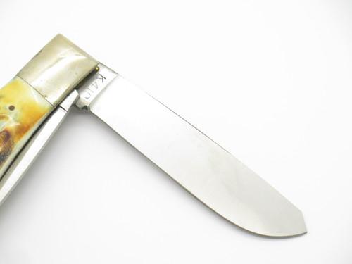 """Vtg 1982-85 Parker & Son K410 Seki Japan 4.5"""" Stag Trapper Folding Pocket Knife"""