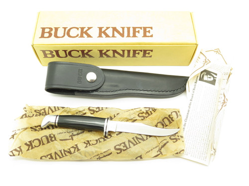VTG 1986 BUCK USA 102 WOODSMAN SMALL PHENOLIC FIXED BLADE HUNTING KNIFE IN BOX