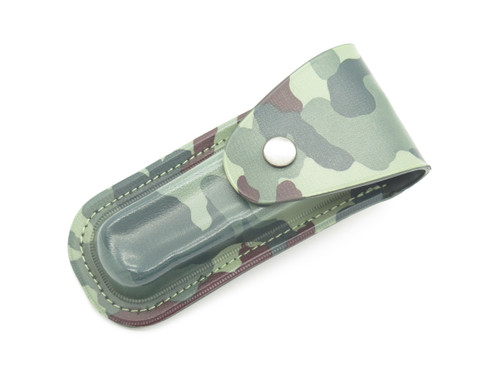 "Vtg 1980s Parker Imai Japan Camo Rubber 5"" Folding Hunter Lockback Knife Sheath"