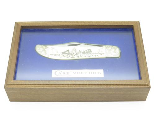 Vtg 1977 Case Moby Dick Limited #1952 Whale Scrimshaw Bone Folding Hunter Knife