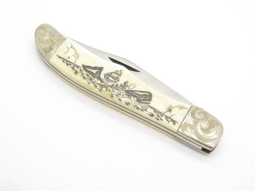Vtg 1977 Case Moby Dick Limited #1123 Whale Scrimshaw Bone Folding Hunter Knife