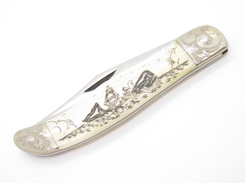 Vtg 1977 Case Moby Dick Limited #0749 Whale Scrimshaw Bone Folding Hunter Knife
