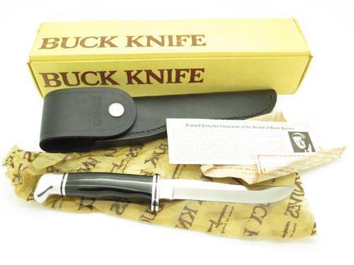 VTG PRE-1986 BUCK 105 PATHFINDER BLACK PHENOLIC FIXED BLADE HUNTING KNIFE in BOX