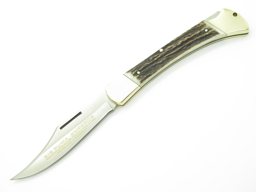 Vtg 1979 Puma 915 Emperor Solingen Germany Stag Folding Hunter Lockback Knife