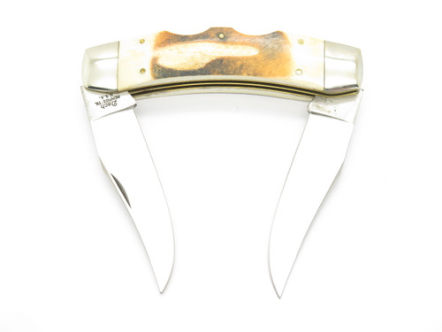 Vtg Parker Imai Dach K-236 Seki Japan Stag Texas Longhorn Folding Lockback Knife