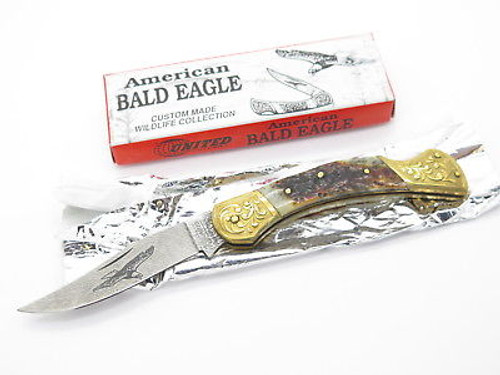 UNITED UC647 CUSTOM STAG LOCKBACK KNIFE EAGLE DAMASCUS LOOK IMAI SEKI JAPAN