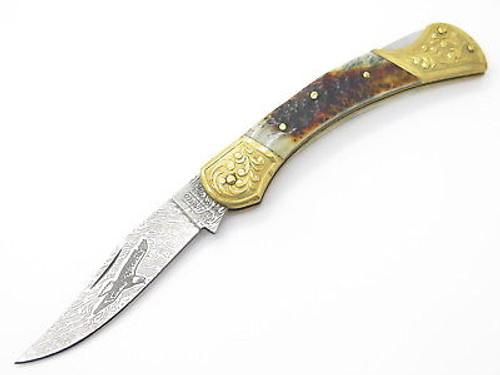 United UC647 Custom Stag Lockback Knife Eagle Damascus Look Imai Seki Japan